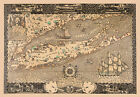 Civil War Revolution Map New York Long Island Connecticut Coastal Poster