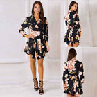 Women Bodycon Evening Cocktail Party Lady Long Sleeve Floral Formal Maxi Dress