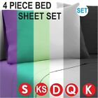 Sheet Set Fitted Flat 4 /3 Piece Pillowcases Soft Microfibre Bed Size S KS D Q K