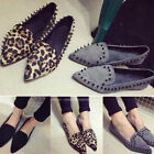 New Womens Flat Slip On Soft Rivet Studs Pointed Toe Driving Shoes Suede Loafer