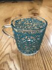 Ikea Glass Coffee Mug GODTA discontinued stackable floral made in France blue