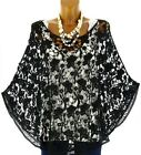 Poncho umhang baumwoll-spitze top sommer schwarz SIMON