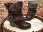 Bare Traps Arrive Gray Leather & Faux Fur Wedge Boots NEW