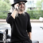 ByTheR Men's Solid Black Embossed Poly Slit Neck Urban Basic Casual T-shirts