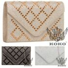 NEW WOMENS DIAMANTE GRID PATTERN SHIMMER GLITTER EMBELLISHED PARTY CLUTCH BAG