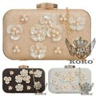NEW LADIES GLITTER HARD COMPACT FLOWER DECORATION PROM EVENING CLUTCH BAG