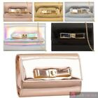 WOMEN'S NEW PATENT LEATHER BOW DETAIL CLASP GOLDEN CHAIN CLUTCH HANDBAG