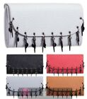 NEW FAUX LEATHER PIERCED DETAILS UNIQUE LADIES EVENING PARTY CLUTCH BAG PURSE