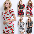 Summer Womens Floral Short Sleeve Slim Bodycon Evening Cocktail Party Mini Dress