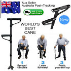 Sturdy Walking Stick Cane Folding Light LED Strap Handle Black Metal Adjustable