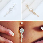Dangle Navel Ring Barbells Body Piercing Zircon Crystal Diamond Belly Button Bar