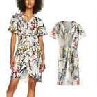 Womens V Neck Print Floral Wrap Tie Waist Short Sleeve Dress Holiday Style