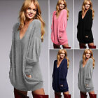 New Women Long Sleeve Knitted Sweater Tops V Neck Loose Cardigan Jumper Knitwear