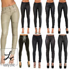 New Ladies Womens Sexy Slim fit Skinny Faux Leather Wet Look Trousers Size 6-14