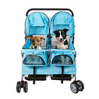 4-Wheel Pet Stroller Pet Cart Cat Travel Folding Carrier For 2 Pets W Cup Holder