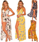 Womens Floral Strapless V Neck Clubwear Party Jumpsuit Rompers Skirt Party Dress