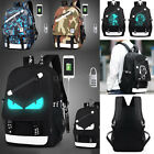 Fashion Noctilucent Large Backpack Cartoon Casual Travel School Bags +Anti-Theft