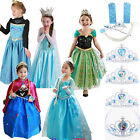 Girl Kid Dress Princess Anna Elsa Frozen Costume Party Dresses Crown Cosplay Set