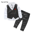New Baby boy Winter clothes long sleeve t-shirt +Vest+pants kids Fashion Clothes