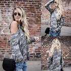 New Fashion Women Casual O-Neck Long Sleeve Cold the Shoulder Camouflage N98B