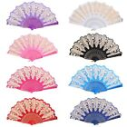 Colorful Hand Held Fan Lace Flower Floral Fabric Folding Fan Party Wedding Prom