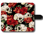 Skull Red Roses Flowers Pattern Punk Indie Gothic Cool Leather Phone Case Cover