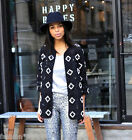 H&M Embroidered Beaded Short Coat Blazer Jacket Black Size UK 10 12 EU 36 38