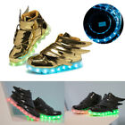 Boys Girls USB 7 LED Light Up Shoes Kids Child Wings Luminous Casual Sneakers