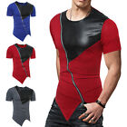 Hip Hop Men T Shirts With a Hood Zippers PU Leather Patchwork Short Sleeve Tops