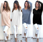 US Warm Womens Casual Long Sleeve Knitted V Neck Pullover Loose Sweater Jumper