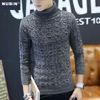 Fashion Mens Pullover Turtleneck Jumper Classic Pattern Slim Fit Knitte Sweater
