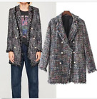 CHIC WOMENs Wool Cotton Tweed Frayed Jacket Mid long Blazer Slim Coat Outwear
