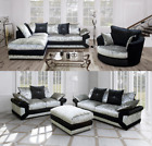 VEGAS LUXURY CRUSHED VELVET 3 + 2 SEATER SOFA BLACK & SILVER