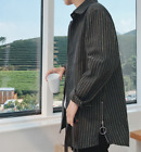 Mens Loose Easy Care Stripe Fashion Casual Cotton Fashion Shirts Korean A449