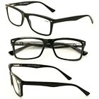 Men Gloss Black Rectangle Rectangular Reading Glasses Wide Fitment Reader