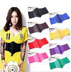 Women Ladies Retro PU Leather Elastic Waist Belt Wide Band Body Shaper Corset