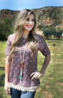 Crazy Train Ranch Round Up Top Taupe Tunic Western Lace Small - 3XL SALE!! NEW