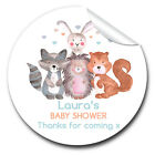 1xA4 Sheet Personalised Woodland Animals Baby Shower Welcoming Party STICKERS