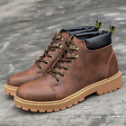 Men Winter Warm PU Leather Waterproof Light Boots High -Top Lace Up Casual Shoes