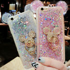 For iPhone 8 X 7 Plus Cute Bling Giltter Mickey Case Cover & Ring Stand & Strap