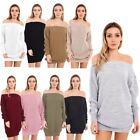 NEW OFF SHOULDER KNITTED BAGGY LONG LADIES JUMPER DRESS UK 8-14