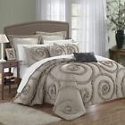 Queen King Size Bed Taupe Beige Ruffles Circle Swirl 7 pc Comforter Set Bedding image