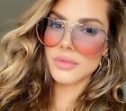 "COLOR ""Posch"" OVERSIZED Women Sunglasses Aviator Flat Top Square Shadz RED"