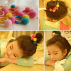 2/5/10X Cute Baby Girl Pompom Ball Hairband Rope Ring Hair Band Ponytail Holder