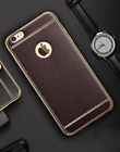 Leather Case For Samsung/ iPhone Thin Electroplating Frame Luxury Finish