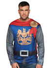 Mens Deluxe Medieval Knight Fancy Dress Costume 3D T-SHIRT Cape King Prince NEW