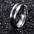 Mens Ladies Stainless Steel Wedding Band with Black Inlay