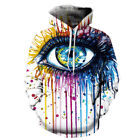 Unisex Creativity Graphic Scrawl Eye Couples 3D Hoodie Pullover Tops