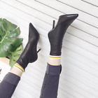 Womens Stilettos High Heels Black Shoes Sexy Pointed Toe Ankle Boots Back Zip M2