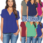 Plus Size Women Chiffon Summer V Neck T-shirt Casual Loose Tops Blouse Tee Shirt